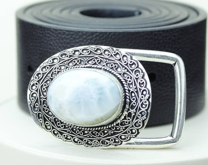 Genuine CARIBBEAN Oval Shaped LARIMAR Vintage Filigree Antique 925 Fine S0LID Sterling Silver + Copper BELT Buckle T9
