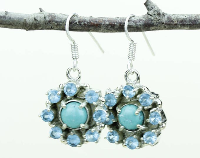 Turquoise Blue Topaz 925 SOLID (Nickel Free) Sterling Silver Italian Made Dangle Earrings e594