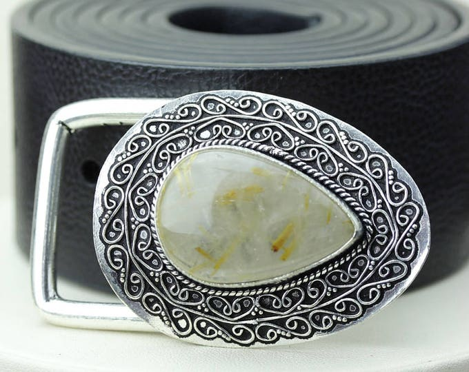 Tear Drop Sideways RUTILATED Rultile Quartz Vintage Filigree Antique 925 Fine S0LID Sterling Silver + Copper BELT Buckle T142