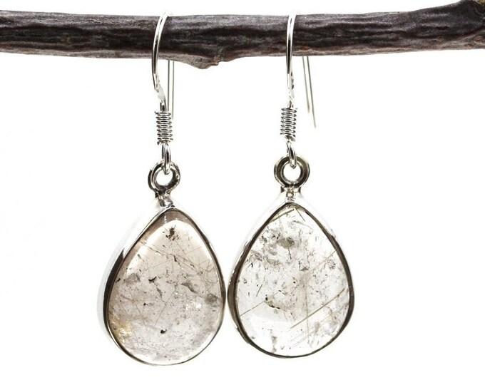 Tear Drop Rutile Rutilated Quartz 925 SOLID Sterling Silver Earrings E120