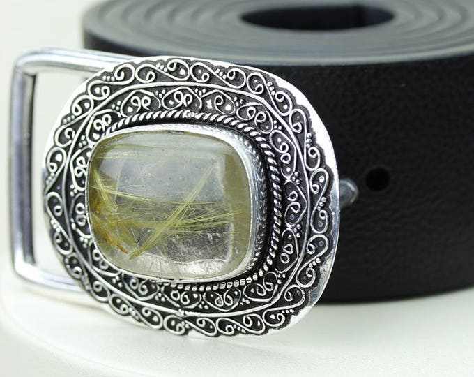 Absolute Pure Form! Rutile RUTILATED Quartz Vintage Filigree Antique 925 Fine S0LID Sterling Silver + Copper BELT Buckle t77