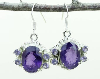 Amethyst Clear Topaz 925 SOLID (Nickel Free) Sterling Silver Italian Made Dangle Earrings e572
