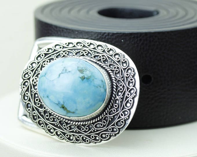 Oval Shaped Tibetan TURQUOISE Vintage Filigree Antique 925 Fine S0LID Sterling Silver + Copper BELT Buckle T54