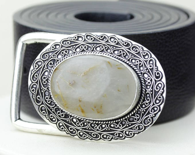 Great Depth of Color! RUTILATED Rutile Quartz Vintage Filigree Antique 925 Fine S0LID Sterling Silver + Copper BELT Buckle T121