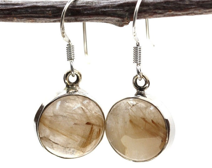 Round Rutile Rutilated Quartz 925 SOLID Sterling Silver Earrings E122
