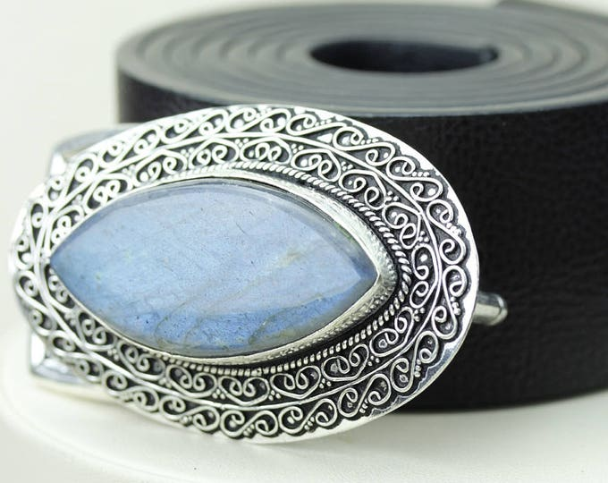 Marquise Shaped Blue Fire LABRADORITE Vintage Filigree Antique 925 Fine S0LID Sterling Silver + Copper BELT Buckle T140