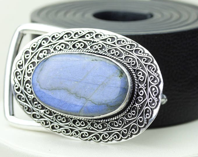 Oval Shaped Blue Fire LABRADORITE Vintage Filigree Antique 925 Fine S0LID Sterling Silver + Copper BELT Buckle T137