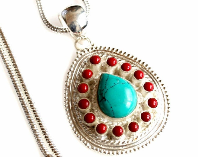 Tear Drop Turquoise Coral 925 Sterling Silver + BONDED Copper Pendant Chain & Worldwide Shipping p4467