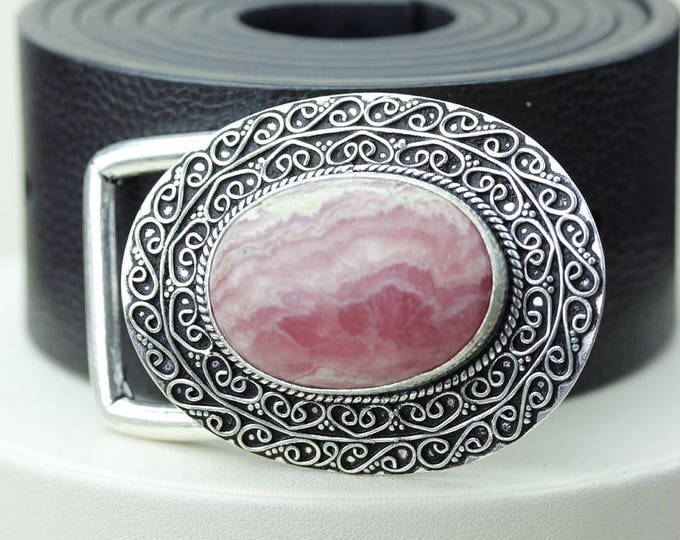 Argentina Mined RHODOCHROSITE Vintage Filigree Antique 925 Fine S0LID Sterling Silver + Copper BELT Buckle t80