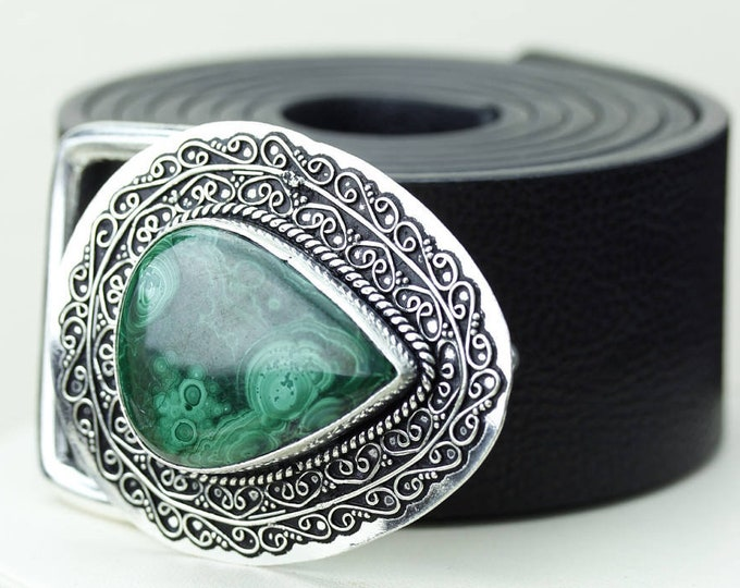 Excellent Pattern! Malachite Vintage Filigree Antique 925 Fine S0LID Sterling Silver + Copper BELT Buckle t117 www.sarahdesignsjewelry.com