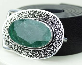 Just Look at this Bad Boy! Oval Shaped Colombian EMERALD Vintage Filigree Antique 925 Fine S0LID Sterling Silver + Copper BELT Buckle T122