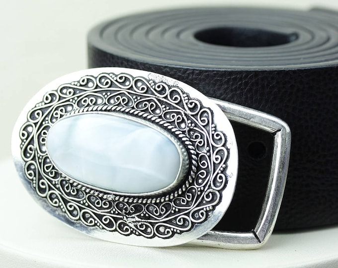 Oval Shaped GENUINE Caribbean LARIMAR Vintage Filigree Antique 925 Fine S0LID Sterling Silver + Copper BELT Buckle T21