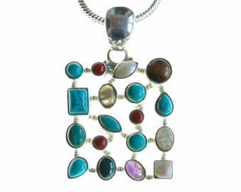 What Else you Need? Turquoise Labradorite Amethyst Moonstone Malachite 925 Sterling Silver+BONDED Copper Pendant Chain & Worldwide Shipping