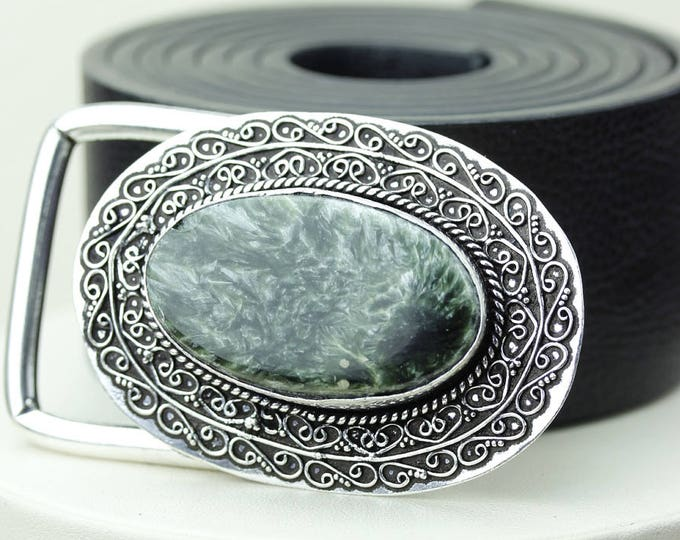 Genuine RUSSIAN SERAPHINITE Stone Vintage Filigree Antique 925 Fine S0LID Sterling Silver + Copper BELT Buckle T141