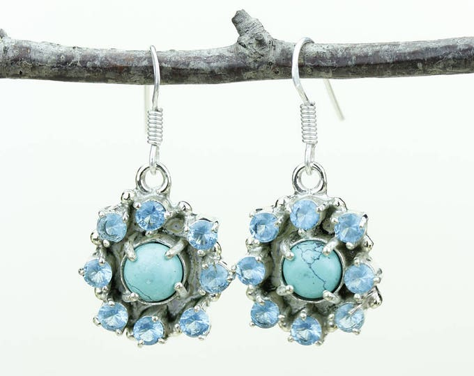 Turquoise 925 SOLID (Nickel Free) Sterling Silver Italian Made Dangle Earrings e624