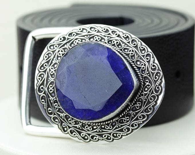Genuine SAPPHIRE CORUNDUM Vintage Filigree Antique 925 Fine S0LID Sterling Silver + Copper BELT Buckle T108