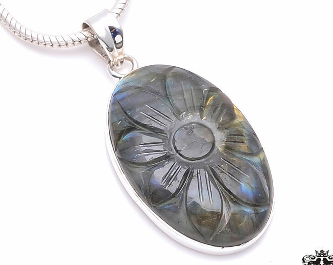 CARVED LABRADORITE Fine 925+ 975 S0LID Sterling Silver Pendant + Snake Chain P6287