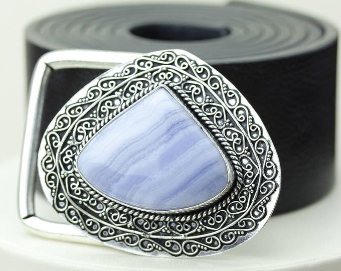 Namibian Blue Lace Agate Vintage Filigree Antique 925 Fine S0LID Sterling Silver + Copper BELT Buckle T139