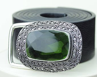 97 Carats IRRADIATED PERIDOT (from colorless Quartz) Vintage Filigree Antique 925 Fine S0LID Sterling Silver + Copper BELT Buckles  T2