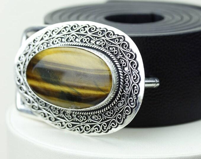 Oval Shaped TIGER'S EYE Vintage Filigree Antique 925 Fine S0LID Sterling Silver + Copper BELT Buckle T90