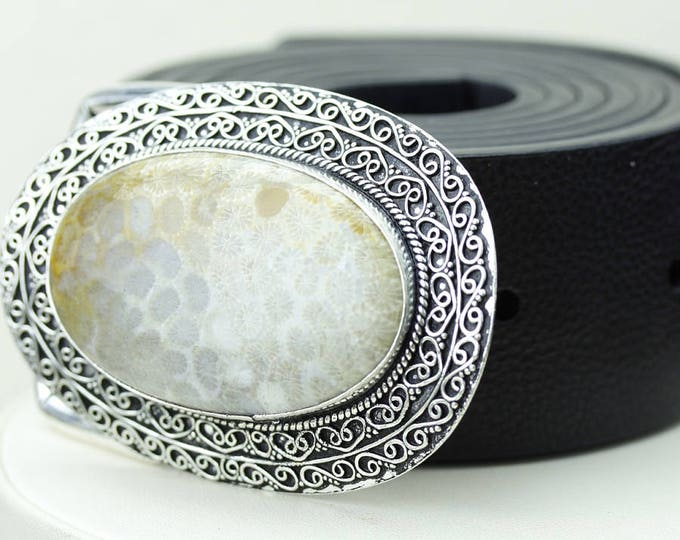 Bali Fossilized Coral Vintage Filigree Antique 925 Fine S0LID Sterling Silver + Copper BELT Buckle T78
