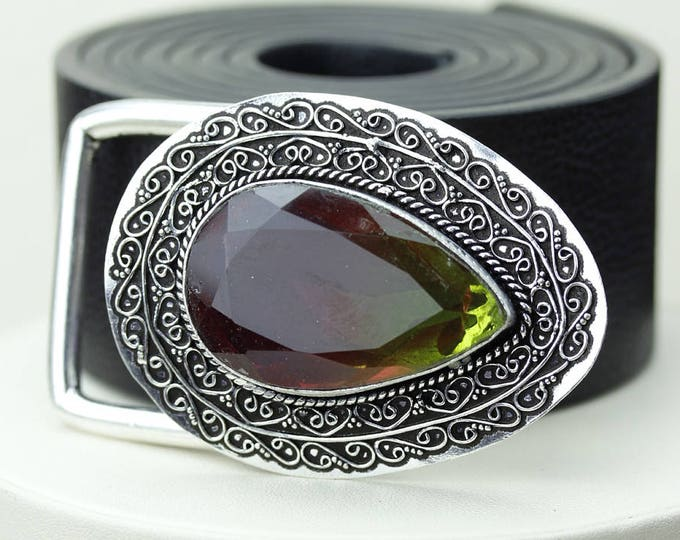 TOURMALINE Quartz Vintage Filigree Antique 925 Fine S0LID Sterling Silver + Copper BELT Buckle T129