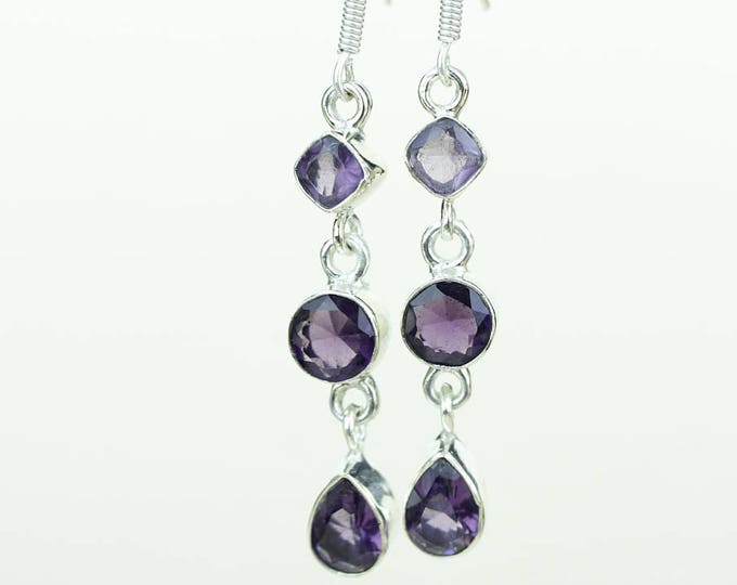 Amethyst 925 SOLID (Nickel Free) Sterling Silver Italian Made Dangle Earrings r618