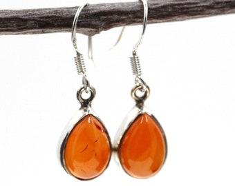 Tear Drop Carnelian 925 SOLID Sterling Silver Earrings E121