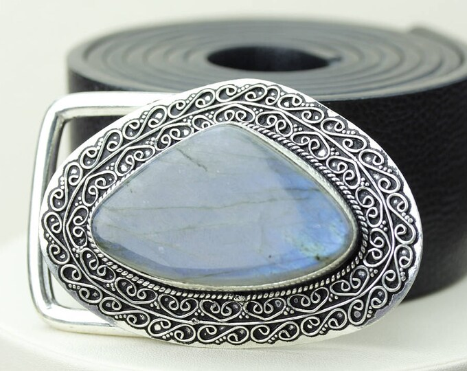 Gotta love this Guy! AAA Grade LABRADORITE Vintage Filigree Antique 925 Fine S0LID Sterling Silver + Copper BELT Buckle T55