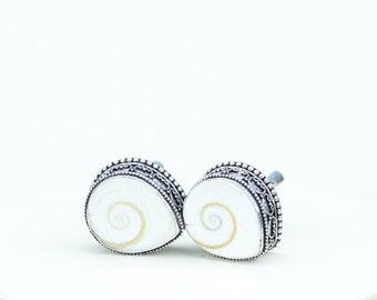 Shiva shell Vintage Filigree Antique 925 Fine S0LID Sterling Silver Men's / Unisex CUFFLINKS k550