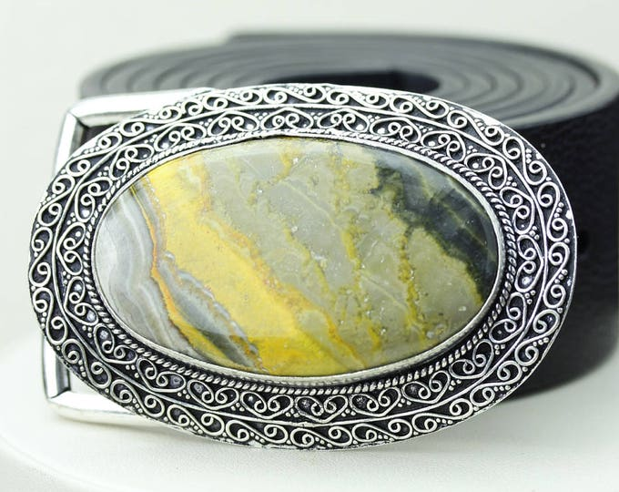 Oval Shaped Indonesian BUMBLE BEE Jasper Vintage Filigree Antique 925 Fine S0LID Sterling Silver + Copper BELT Buckle T79