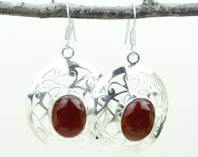 Ruby 925 SOLID (Nickel Free) Sterling Silver Italian Made Dangle Earrings e584