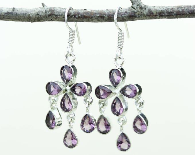 Pink Tourmaline Quartz 925 SOLID (Nickel Free) Sterling Silver Italian Made Dangle Earrings e610