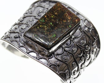 Great Details! GENUINE Canadian AMMOLITE 925 S0LID Sterling Silver Bangle Cuff B1307