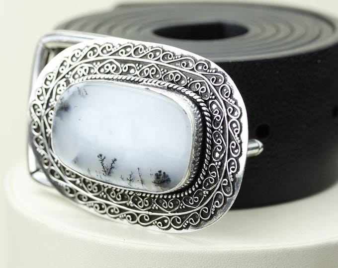 Dendritic Agate Opal MERLINITE Vintage Filigree Antique 925 Fine S0LID Sterling Silver + Copper BELT Buckles T74