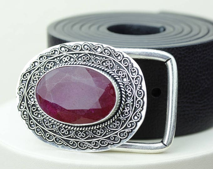 Genuine RUBY Corundum Vintage Filigree Antique 925 Fine S0LID Sterling Silver + Copper BELT Buckles T4