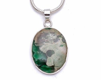 Russian Variscite Fine 925+ 975 S0LID Sterling Silver Pendant + Snake Chain p6299