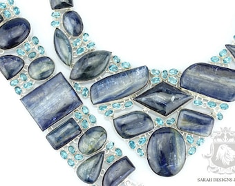 Blast of Blue! TANZANIAN KYANITE AQUAMARINE 925 Solid Sterling Silver Necklace Set 92