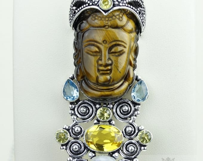 Peace and Prosperity! Kwan Yin Guanyin BUDDHA Goddess Face Moon Face 925 S0LID Silver Pendant + 4MM Chain & Free Shipping P3748