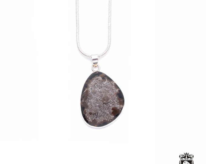 Geode AGATE Drusy DRUZY Fine 925+ 975 S0LID Sterling Silver Pendant + Snake Chain P6247