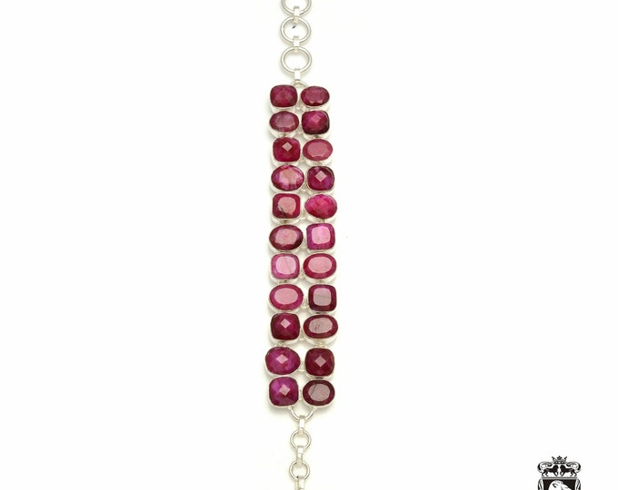 Petite! Genuine RUBY Corundum 925 Sterling Silver + Copper Bonded Bracelet & Worldwide Express Tracked Shipping B3329