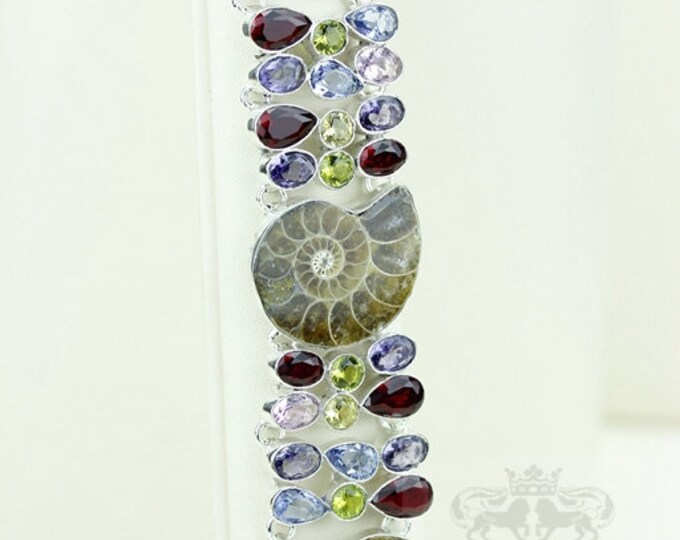 Colorful! Madagascar Ammonite Fossil Multi-Stone 925 S0LI B1752D Sterling Silver Bracelet & FREE Worldwide Express Shipping