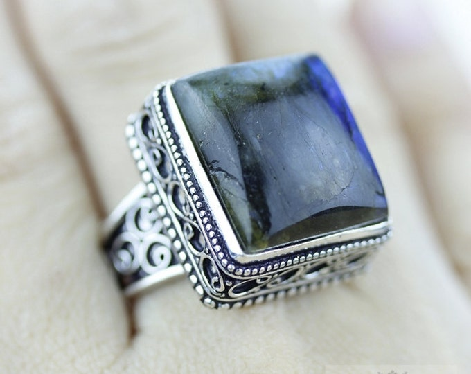 Size 8.5 Labradorite 925 S0LID (Nickel Free) Sterling Silver Vintage Setting Ring r1796
