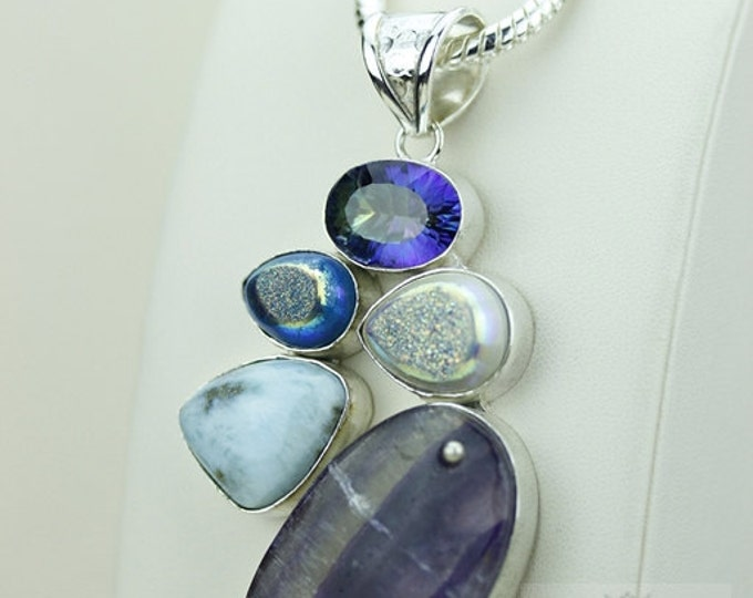 AMETHYST LACE AGATE Pearl Druzy 925 S0LID Sterling Silver Pendant + 4mm Snake Chain & Free Worldwide Shipping mp231