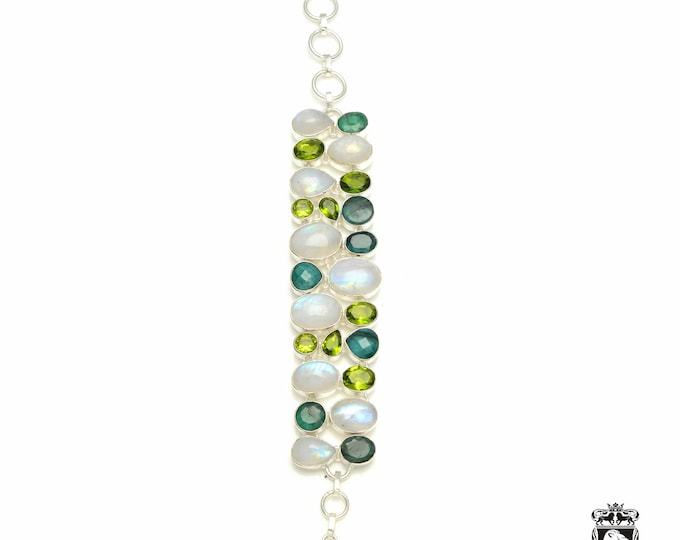 A Cut Above! Genuine EMERALD Moonstone Peridot 925 Sterling Silver + Copper Bonded Bracelet & Worldwide Express Tracked Shipping B3320