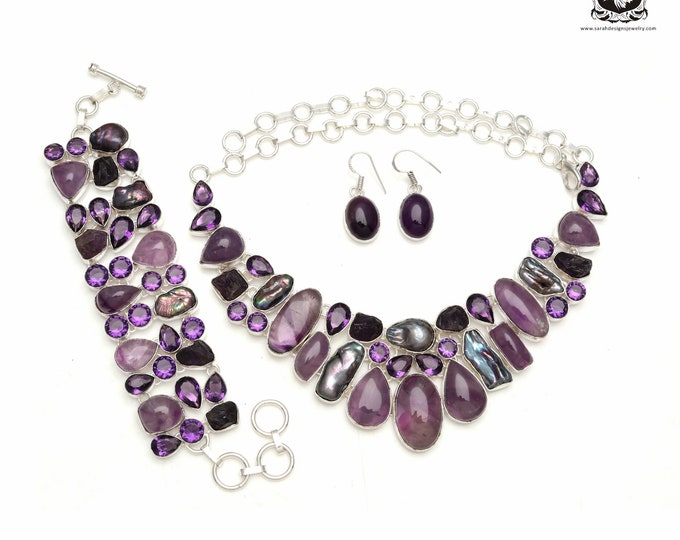 Take it for yourself! Amethyst Cabochon Pearl 925 Sterling Silver + Copper Bonded Necklace Bracelet & Earrings ALL Included SET583