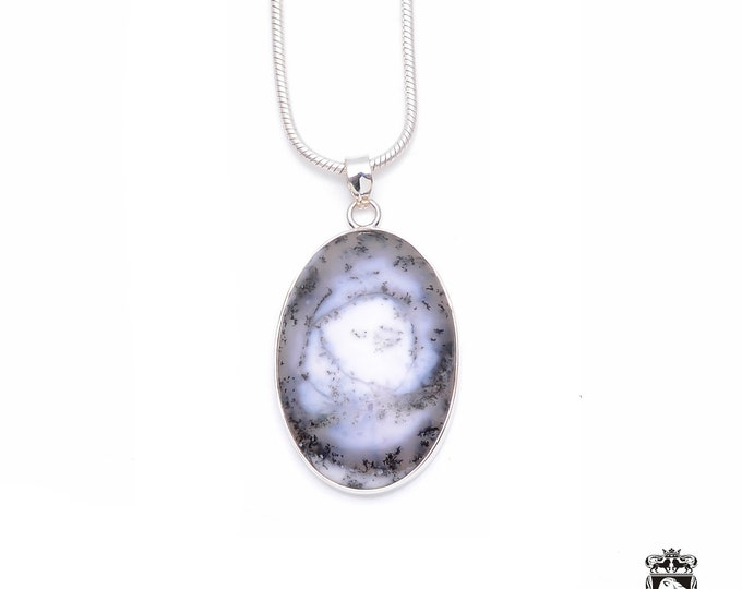 Dendritic Agate Fine 925+ 975 S0LID Sterling Silver Pendant + Snake Chain P6253
