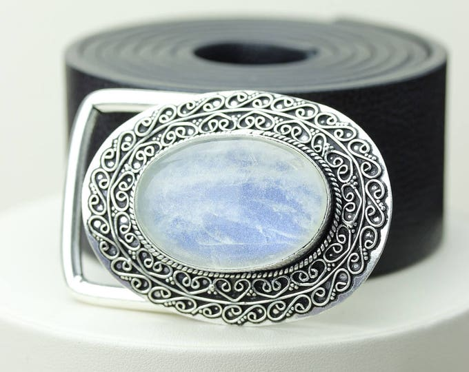 Ultra Opulent! Supreme grade Ceylon RAINBOW MOONSTONE Vintage Filigree Antique 925 Fine S0LID Sterling Silver + Copper BELT Buckle T11