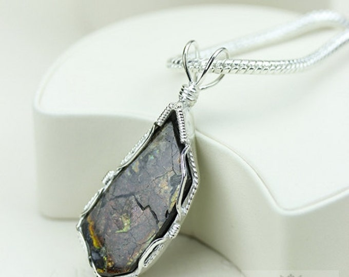 Stunning Grade! GENUINE Canadian AMMOLITE 925 Solid Sterling Silver Pendant + 4mm Snake Chain & FREE Worldwide Shipping P1601