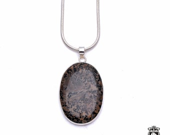 Scenic Dendritic Agate Fine 925+ 975 S0LID Sterling Silver Pendant + Snake Chain p6298